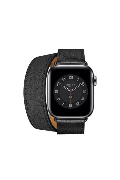 Teknoband Apple Watch Kordon Hermes Double Tour Deri Loop Medium 42/44 Mm Uyumlu (Logo Var)