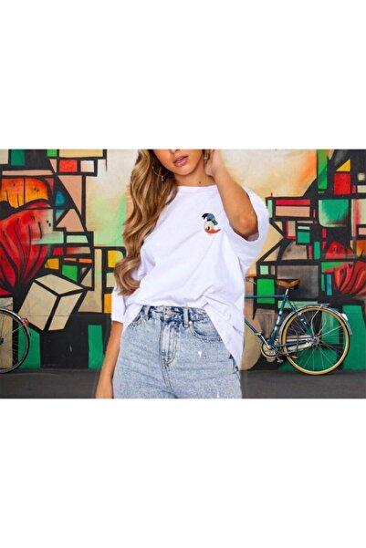 Unique Kadın Ön Arka Donald Duck Baskılı Oversize Kısa Kollu Tshirt