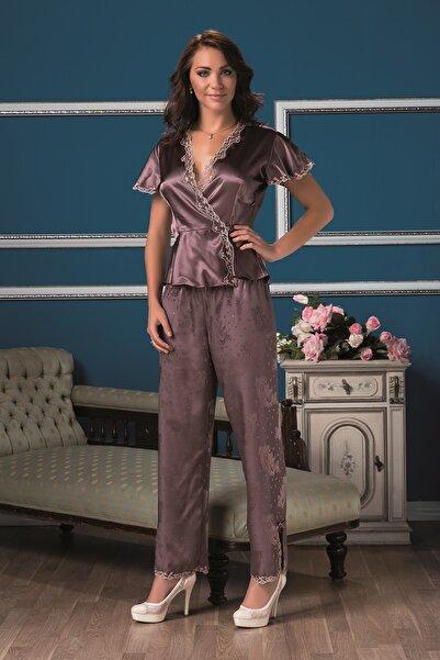 Karmen Kadın Mürdüm Saten Pijama Takımı