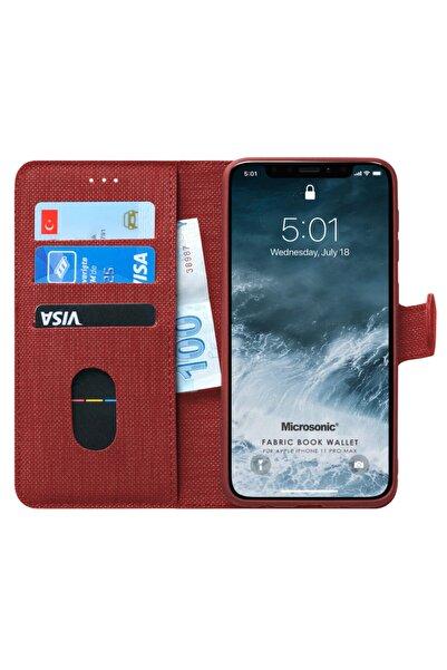 Microsonic Microsonic Iphone 11 Pro Max Kılıf Fabric Book Wallet Kırmızı