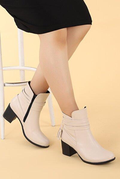 Ayakland Kadın Krem Cilt Günlük 6cm Topuk Bot Ayakkabı