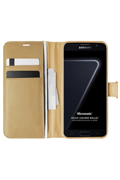 Microsonic Microsonic Galaxy S7 Edge Kılıf Delux Leather Wallet Gold