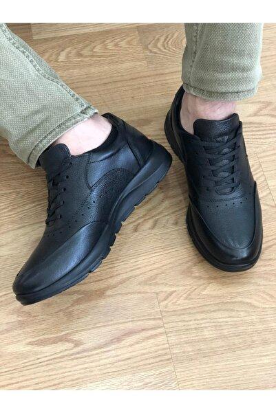 Karaca Erkek Siyah Deri Ortopedik Taban Spor Ayakkabı