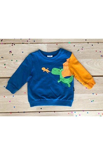 Wonder Kıds Erkek Çocuk Lacivert Ejderhalı  Sweatshirt