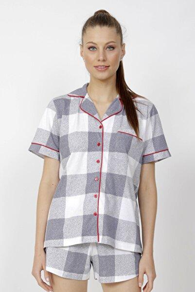 VİENETTA Kadın Gri Pamuklu Komple Düğmeli Gömlek Yaka Şortlu Pijama Takım