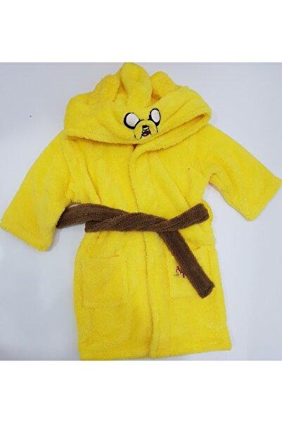 Micro Çocuk Sarı Kapüşonlu Bornozu