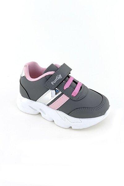 Funny Baby Erkek Çocuk Gri Cırtlı Lastikli Yürüyüş ve Spor Ayakkabısı