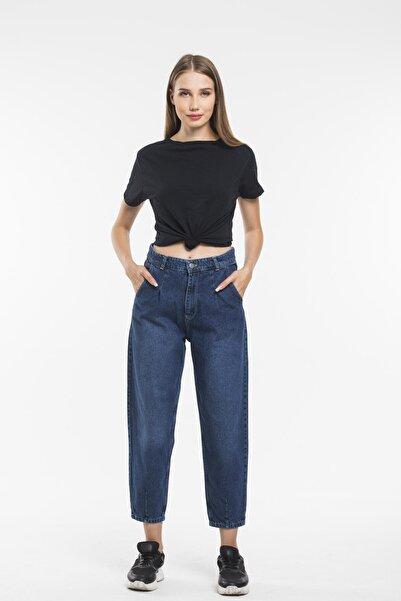 sarıbalon Mavi Pilili Yüksek Bel Ballon Jeans