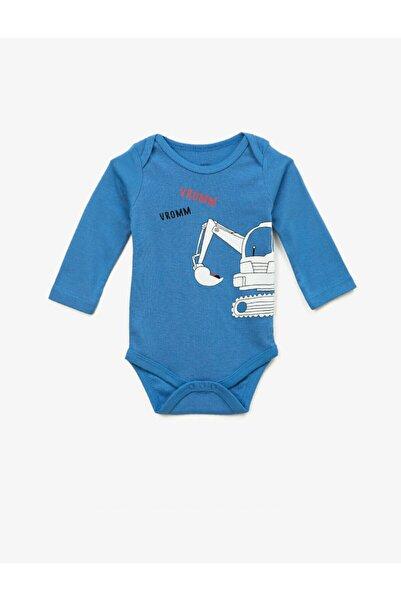 Koton Erkek Bebek Mavi Pamuklu Baskili Uzun Kollu Çitçitli Zibin