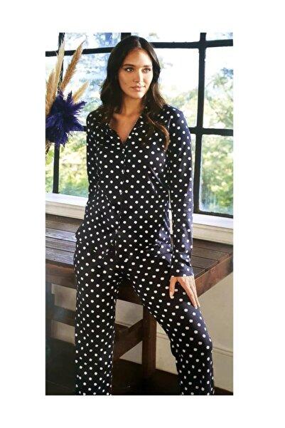 Eros Kadın Siyah Puantiyeli Pijama Takımı 27512