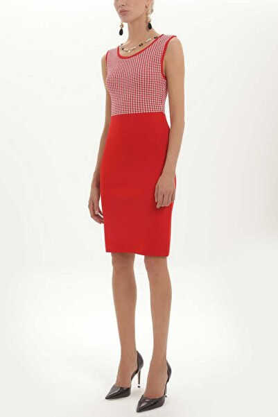 SOCIETA - Dar Kesim Kolsuz Triko Elbise 27937 Kırmızı