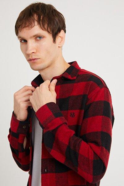 BACKMAN Erkek Kırmızı Siyah Slim Fit Oduncu Gömlek