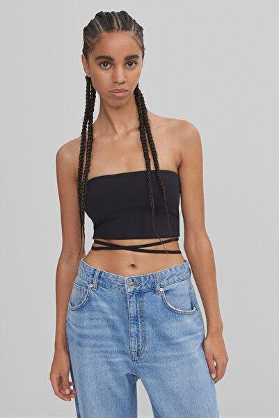 Bershka Kadın Siyah Bandana Model Askılı Top