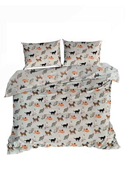 Kediler Pamuk Flanel Pazen Çift Kişilik Nevresim ve 2 Yastık Kılıfı Seti  20