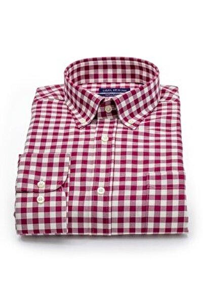 Kerry Erkek Kırmızı Beyaz Kareli Cepli Regular Fit Lüks Pamuklu Gömlek
