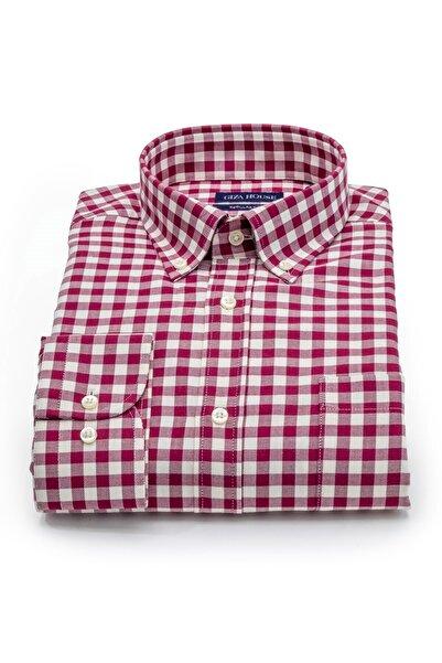 GIZA HOUSE Kerry Erkek Kırmızı Beyaz Kareli Cepli Regular Fit Lüks Pamuklu Gömlek