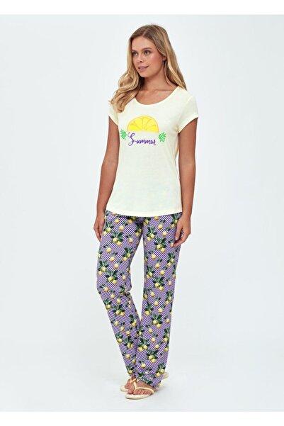 Dagi Kadın Sarı O Yaka Kısa Kollu Pijama Takımı B0219Y0013