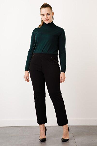 Ekol Kadın Siyah Zımba Detaylı Pantolon