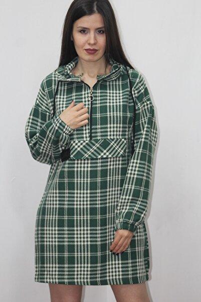 NEWLOT Kadın Yeşil Beyaz Ekose Style Etiketli Yarım Fermuar Kapişonlu Sweat