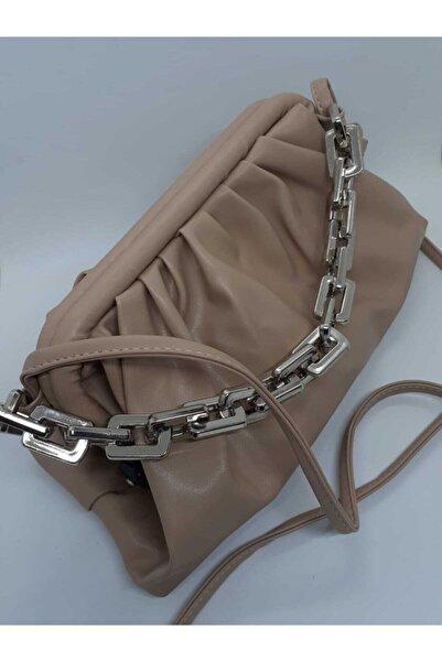 UED AKSESUAR Kadın Bej Ip Askılı Burslu Zincir Detaylı Omuz Çanta