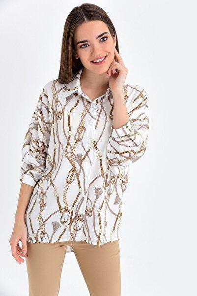 Jument Kadın Krem Capri Kol Salaş Gömlek