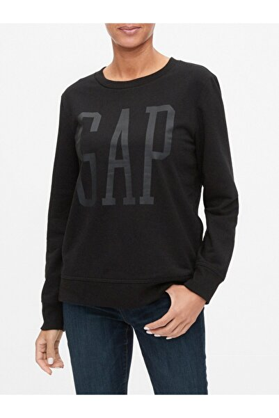 GAP Kadın Siyah Logo Yuvarlak Yaka Sweatshirt