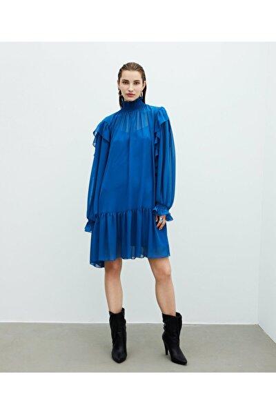 İpekyol Kadın Mavi Fırfır Şeritli Elbise