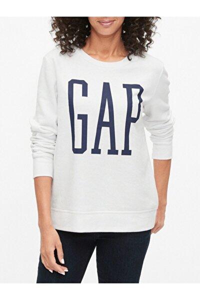 GAP Kadın Beyaz Logo Yuvarlak Yaka Sweatshirt