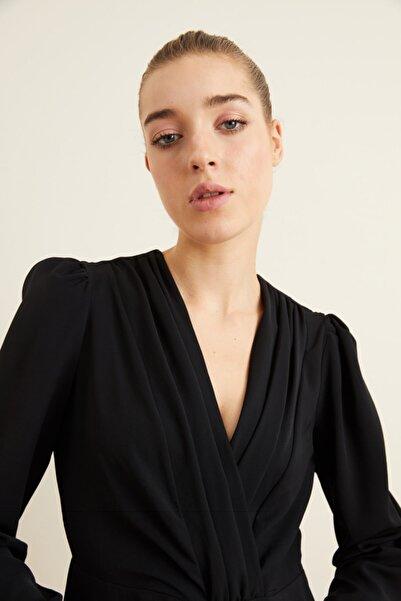 adL Kadın Siyah Kruvaze Uzun Kollu Bluz