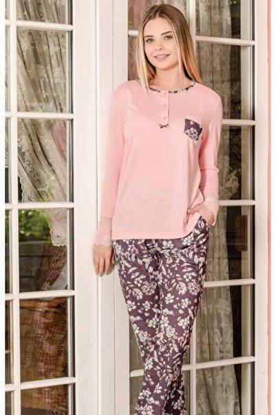 Yeni İnci Uzun Kollu Viskon Penye Kadın Pijama Takım Pembe