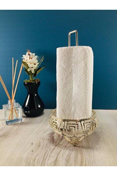 Yıva Home Gümüş Renkli Versace Şeritli Metal Kağıt Havluluk