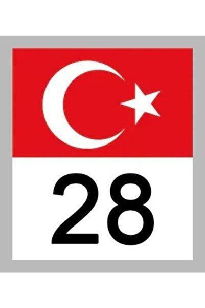 Apex 28 Giresun Türk Bayrağı Ve Plaka Kodu Ön Cam Sticker Yapıştırma
