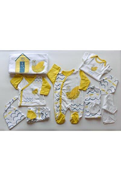 Sahra Unisex Bebek Sarı Beyaz Bebitof Pamuk Evli Kuş Desenli 10'lu Hastane Çıkış Seti