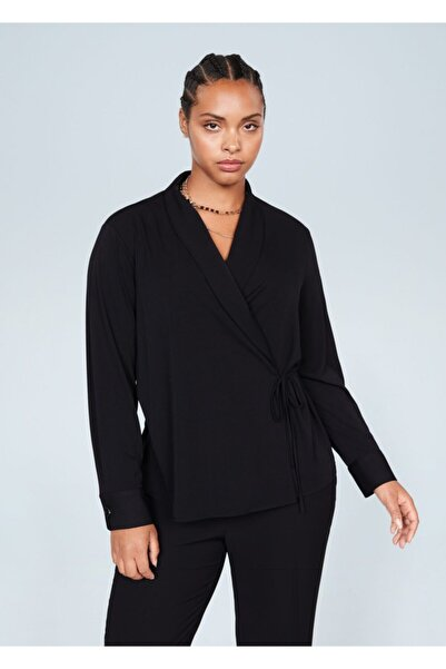 Violeta by MANGO Kadın Siyah Anvelop Kesimli Fiyonklu Bluz 67010145