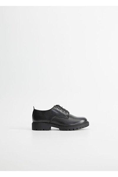 MANGO Kids Erkek Çocuk Siyah Bağcıklı Deri Ayakkabı 67010170
