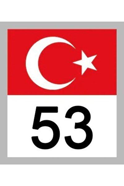 Apex 53 Rize Türk Bayrağı Ve Plaka Kodu Ön Cam Sticker Yapıştırma