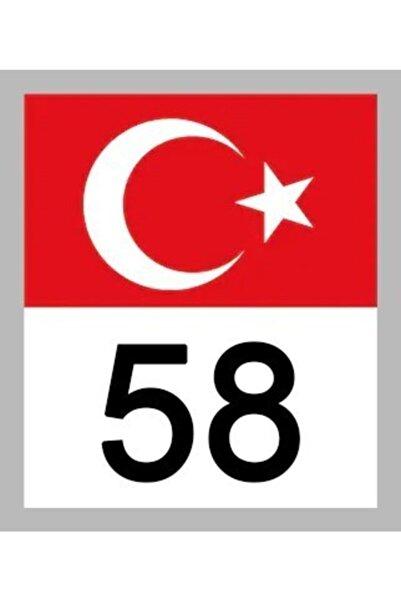 Apex 58 Sivas Türk Bayrağı Ve Plaka Kodu Ön Cam Sticker