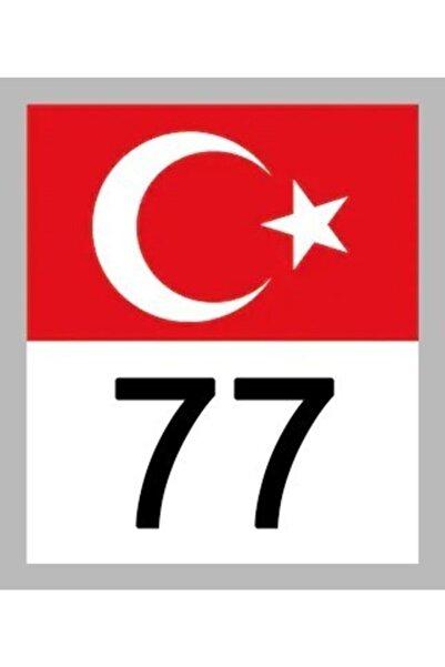 Apex 77 Yalova Türk Bayrağı Ve Plaka Kodu Ön Cam Sticker Yapıştırma