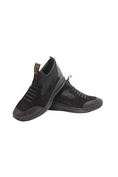 Elite Erkek Siyah Süet Bağcıksız Ayakkabı