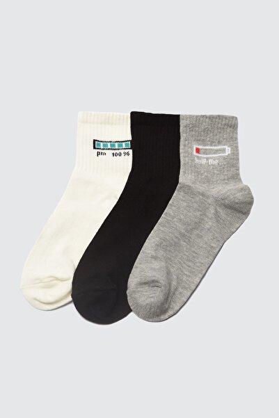 TRENDYOLMİLLA Siyah 3'lü Paket Örme Çorap TWOAW21CO0118