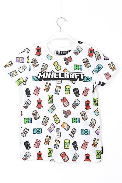 MINECRAFT Erkek Çocuk Beyaz 360 Derece Minecraft Dijital Baskılı T-shirt 5 - 14 Yaş Aralığı