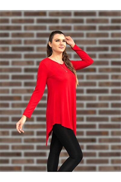 MODANİCE Kadın Kırmızı Eteği Asimetrik Tunik