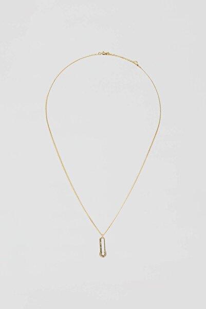 Pull & Bear Kadın Altın Rengi Altın Rengi Taşlı Çengelli İğne Kolye 04991302