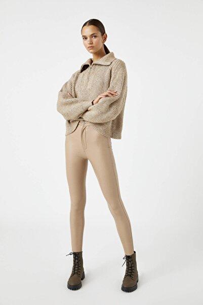 Pull & Bear Kadın Camel Suni Deri Skinny Fit Pantolon 09672304