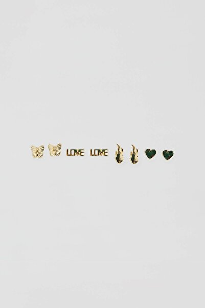 Pull & Bear Kadın Altın Rengi 8'Li Altın Rengi Küpe Seti 04991303