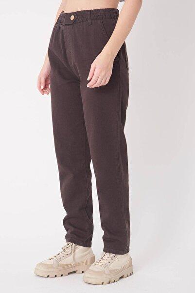 Addax Kadın Çikolata Düğme Detaylı Pantolon PN4191 - PNİ ADX-0000021486