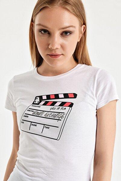 Armani Exchange Kadın Beyaz T-shirt