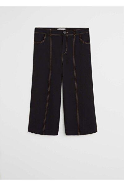 Violeta by MANGO Kadın Siyah Dikiş Detaylı Pantolon Etek 67045966