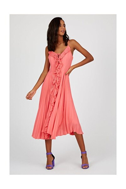 Setre Kadın Somon Kolsuz Midi Abiye Elbise