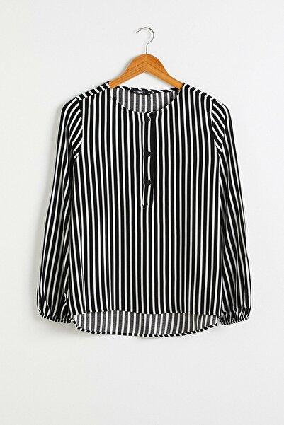 LC Waikiki Kadın Siyah Çizgili Bluz 0WDY26Z8